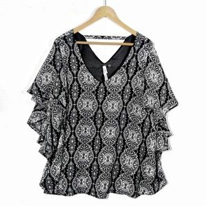 NY Collection Damusk pattern ruffle sleeve blo